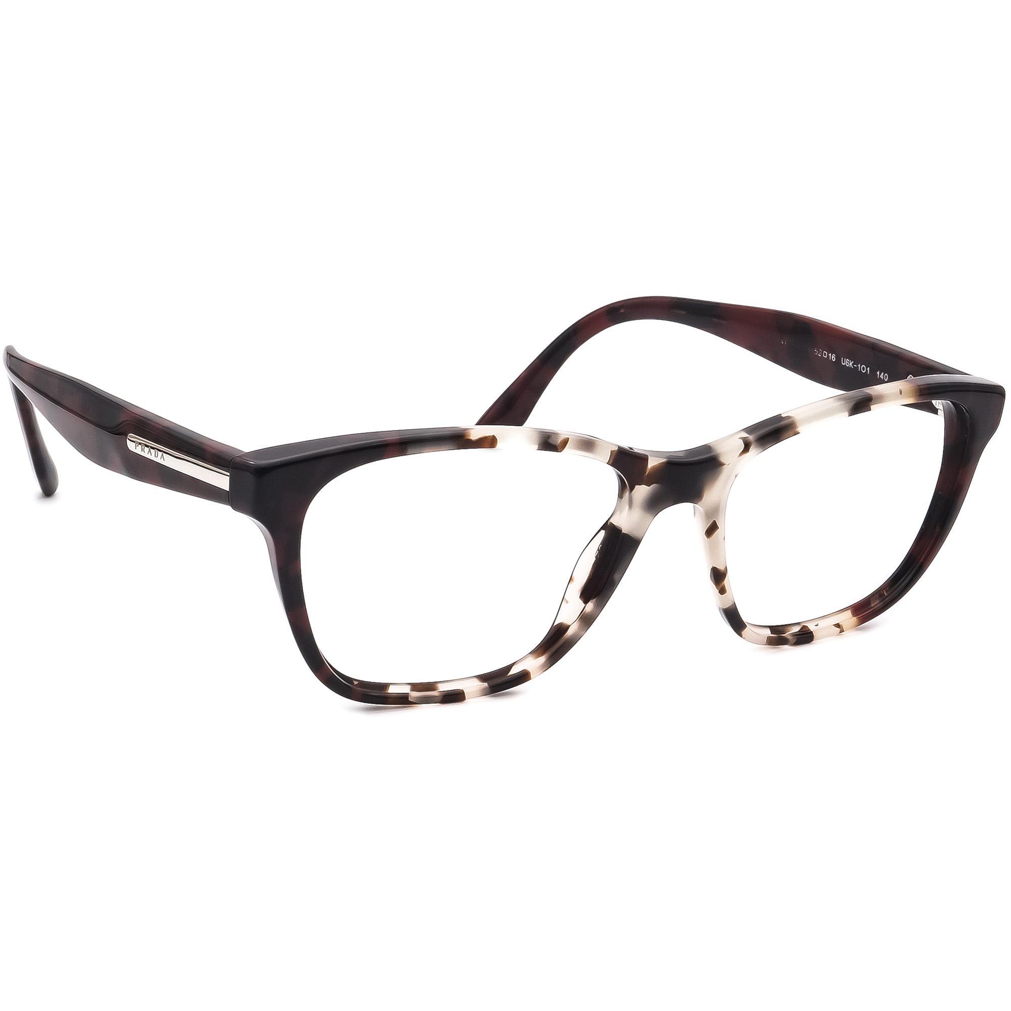 Prada Eyeglasses Journal VPR04T U6K-1O1 Spotted Brown Red Frame Italy 52-16 140