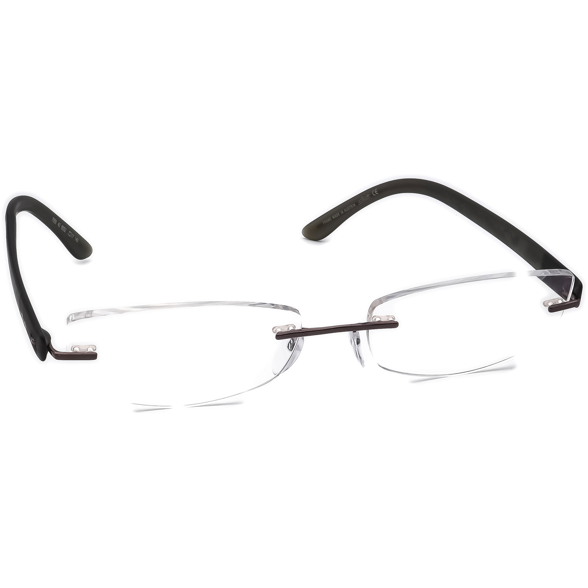 Silhouette Eyeglasses 7608 40 6052 Brown/Matte Green Rimless Austria 53[]17 140