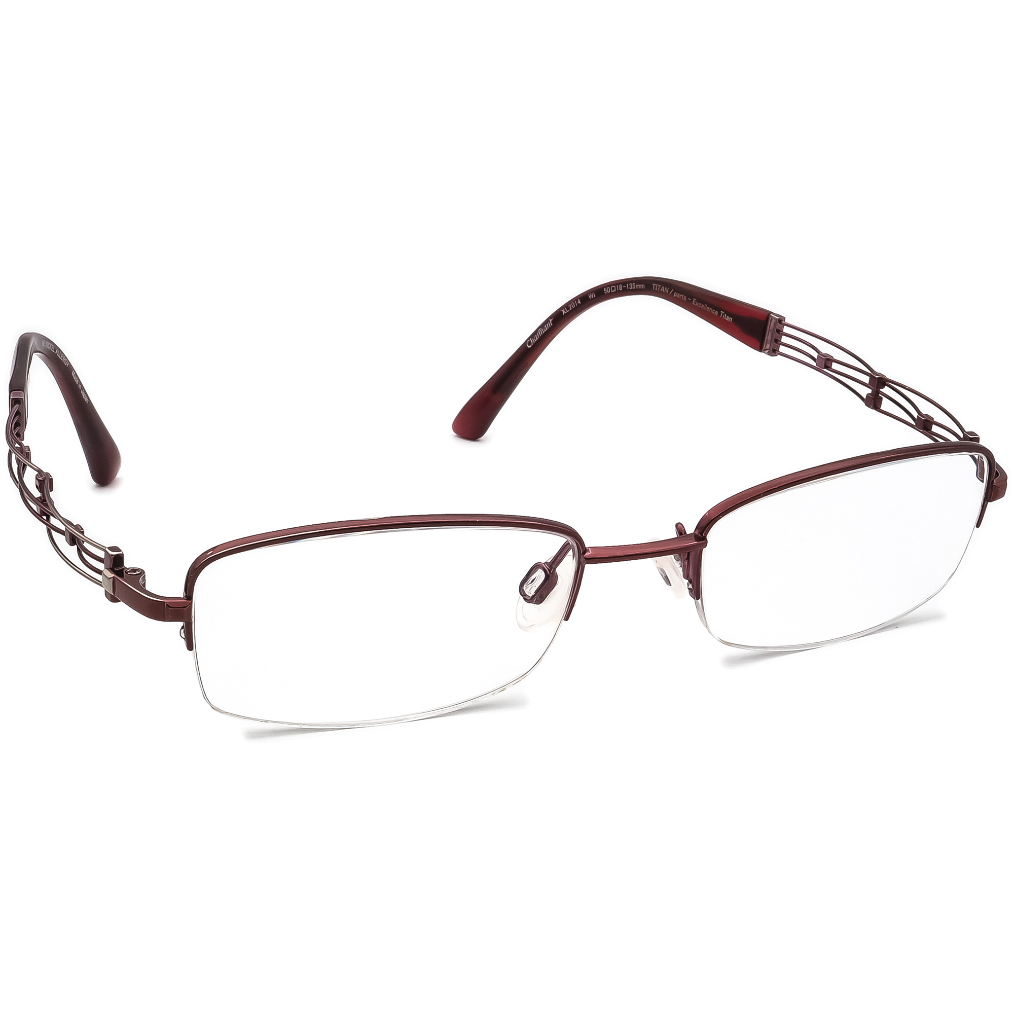 Charmant Eyeglasses XL 2014 WI Line Art Titanium Wine Half Rim Japan 50[]18 135