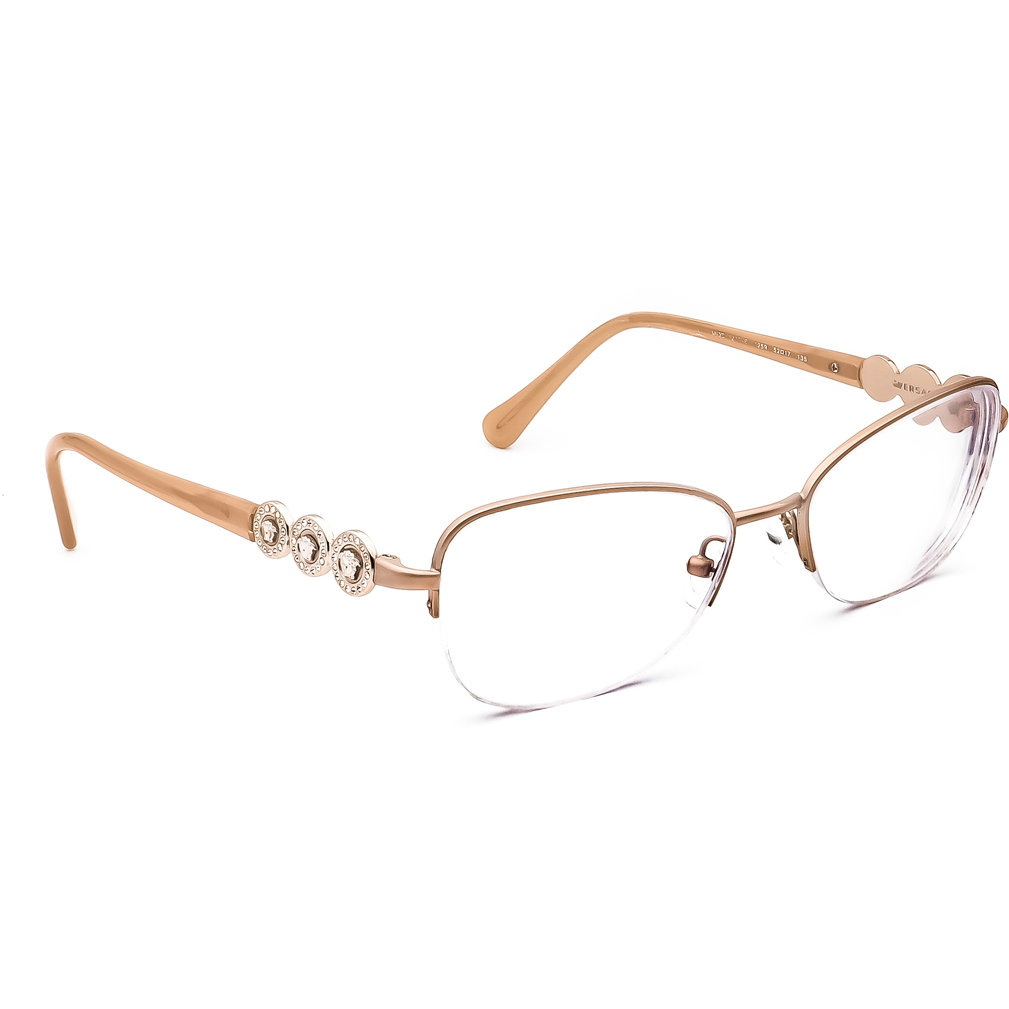 Versace Women's Eyeglasses MOD.1217-B 1259 Light Brown Half Rim Frame 52[]17 135