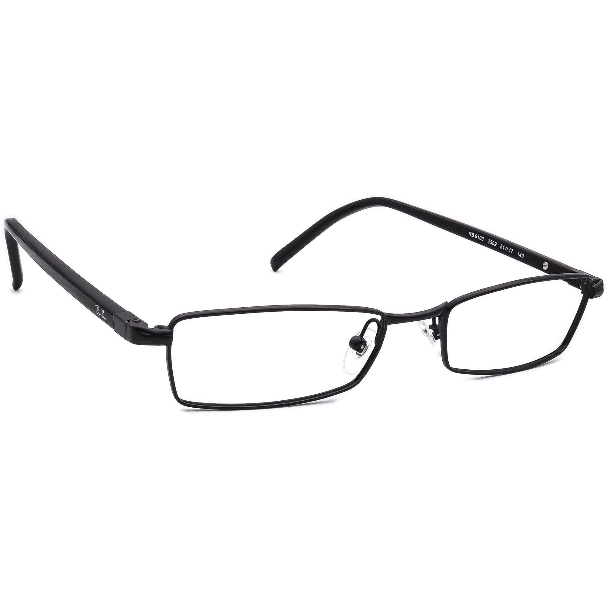 Ray Ban Eyeglasses RB 6103 2509 Black Rectangular Frame 51[]17 140