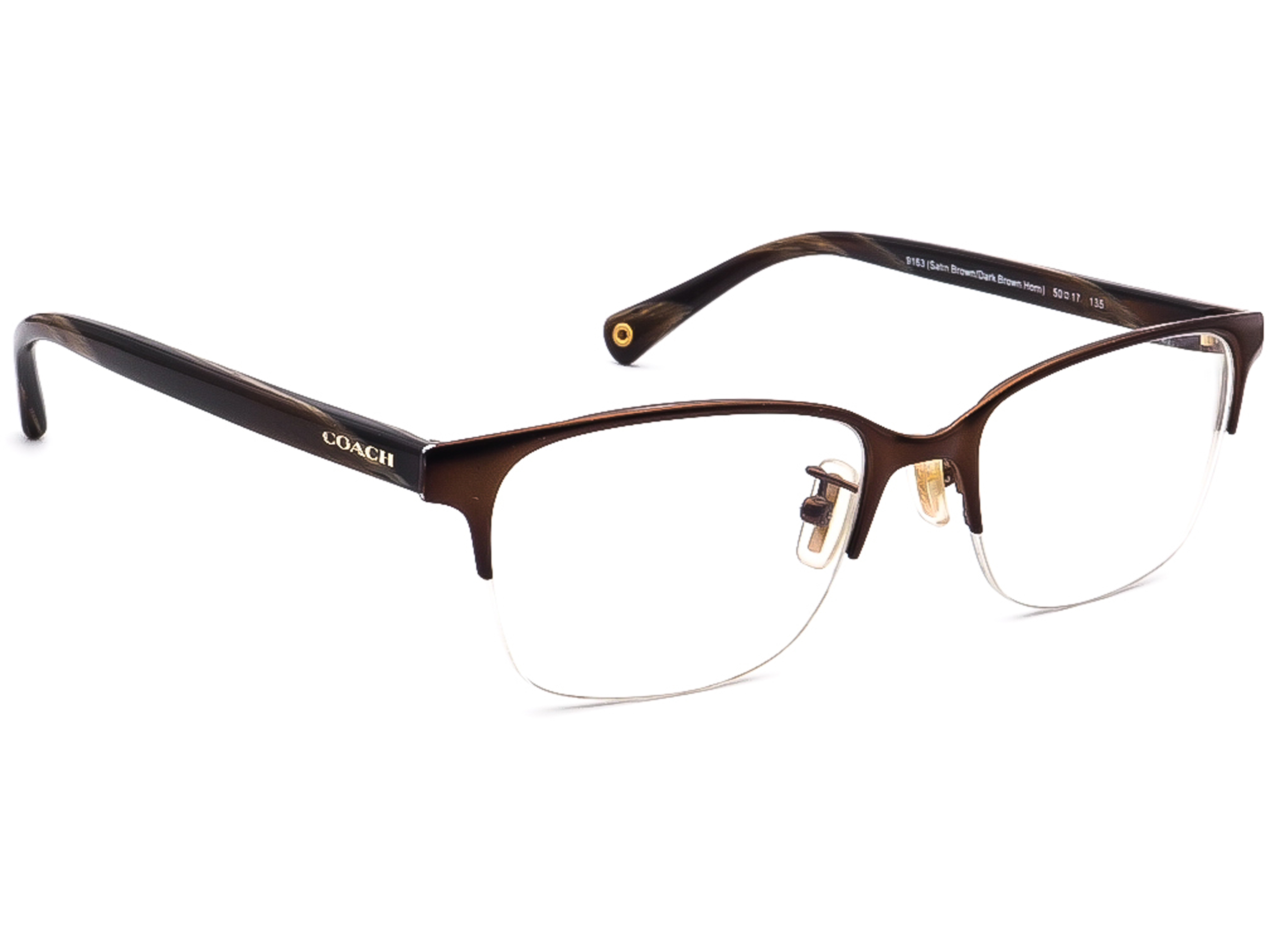 Coach HC 5047 Evie 9163 Satin Brown/Dark Brown Horn Eyeglasses