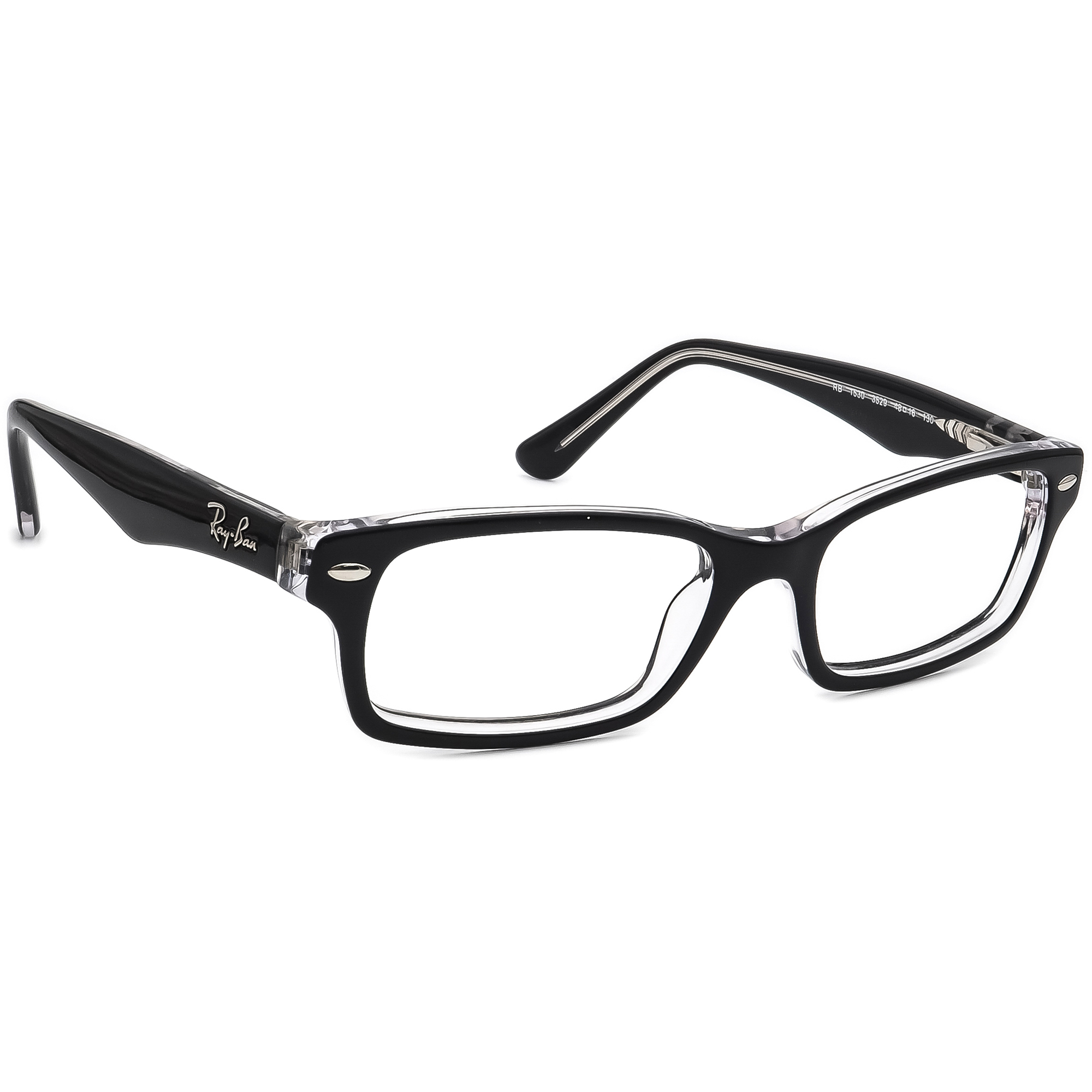 Ray Ban Eyeglasses RB 1530 3529 Black on Clear Horn Rim Frame 48[]16 130 Small