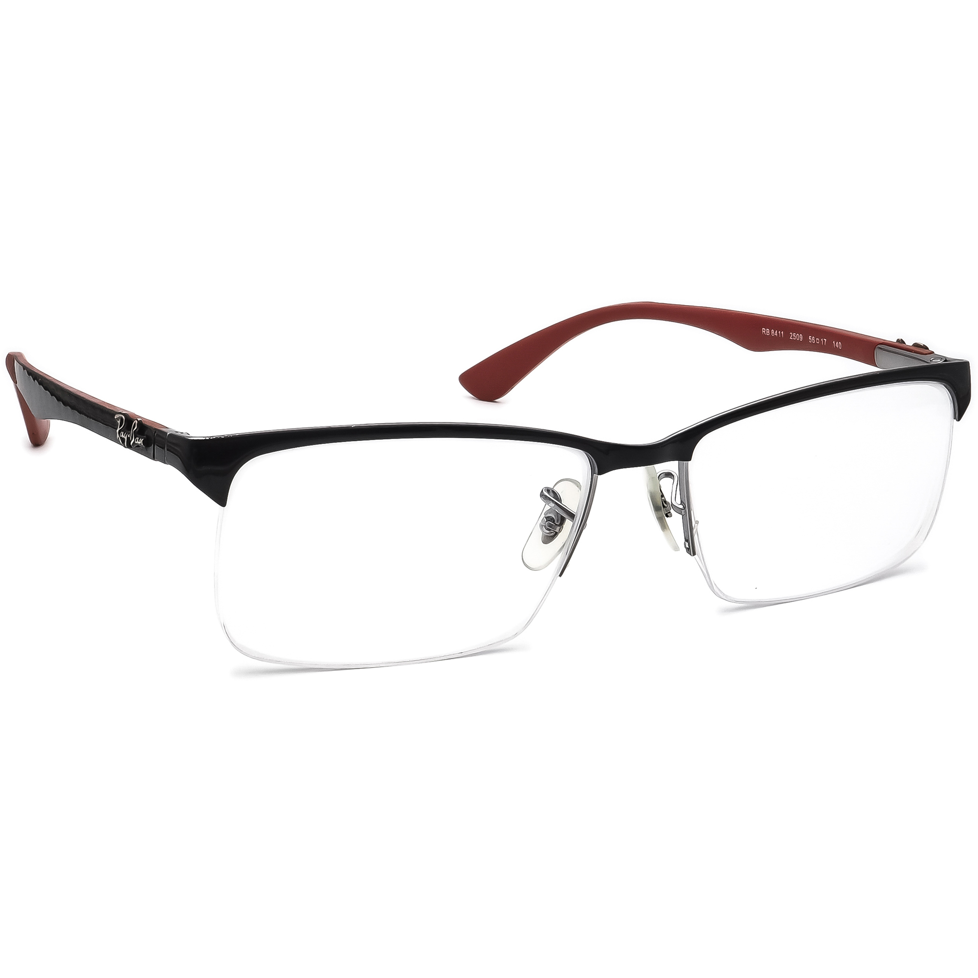 Ray Ban Men's Eyeglasses RB 8411 2509 Black/Red Half Rim Frame 56[]17 140