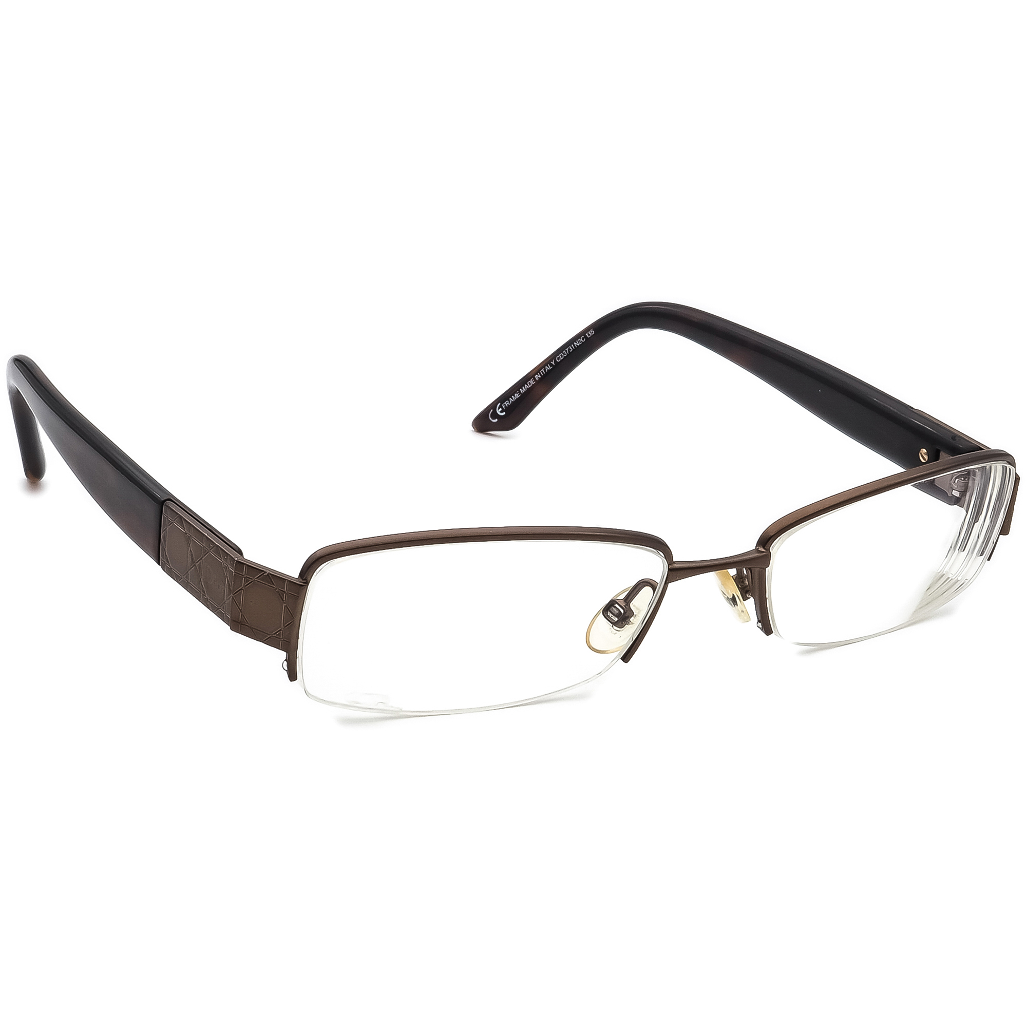 Christian Dior Eyeglasses CD 3731 N2C Brown Half Rim Frame Italy 51[]17 135