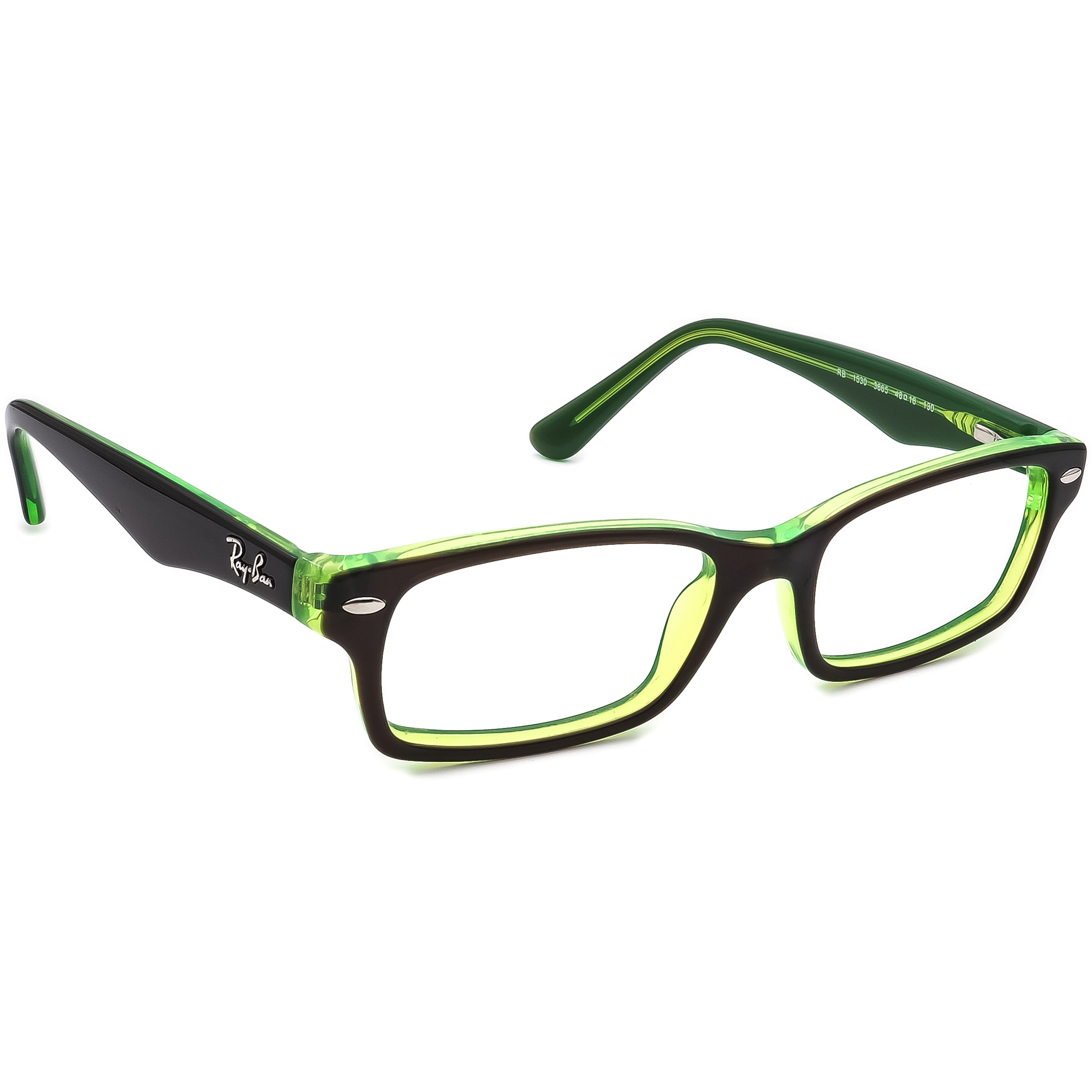 Ray Ban Eyeglasses RB 1530 3665 Havana on Green Horn Rim Frame 48[]16 130 Small