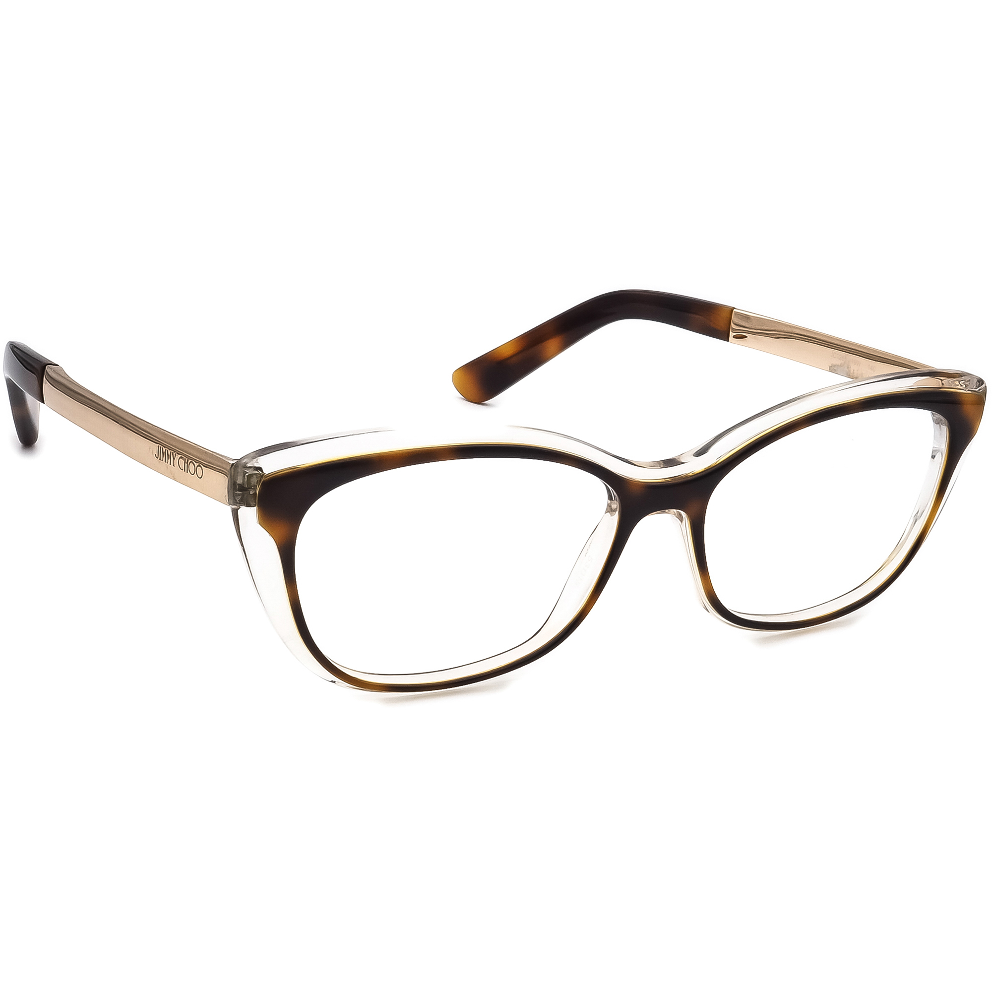 Jimmy Choo Eyeglasses JC 126 19W Tortoise & Clear/Gold Frame Italy 53[]15 140