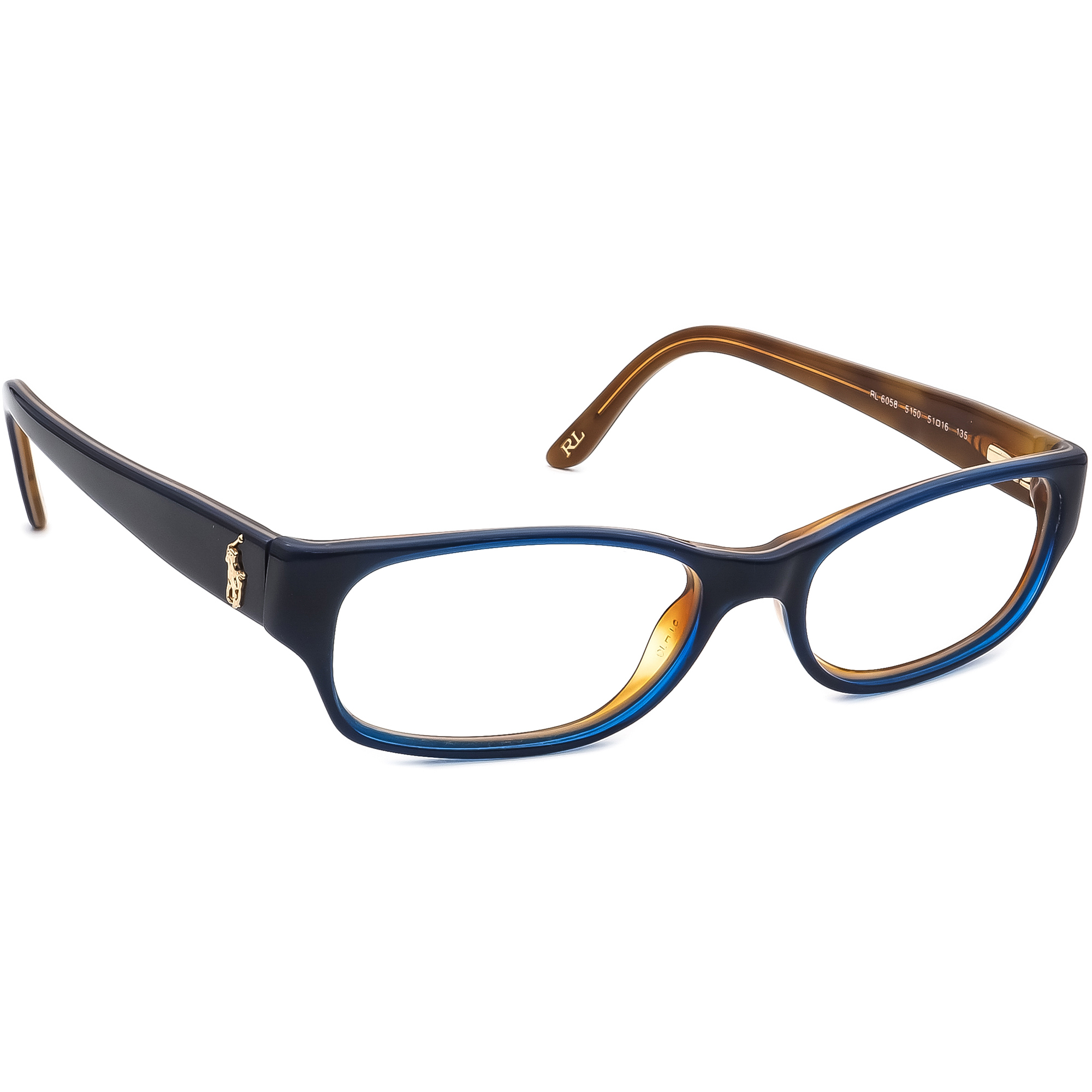 Ralph Lauren Polo Eyeglasses RL6058 5150 Dark Blue/Brown Frame Italy 51[]16 135