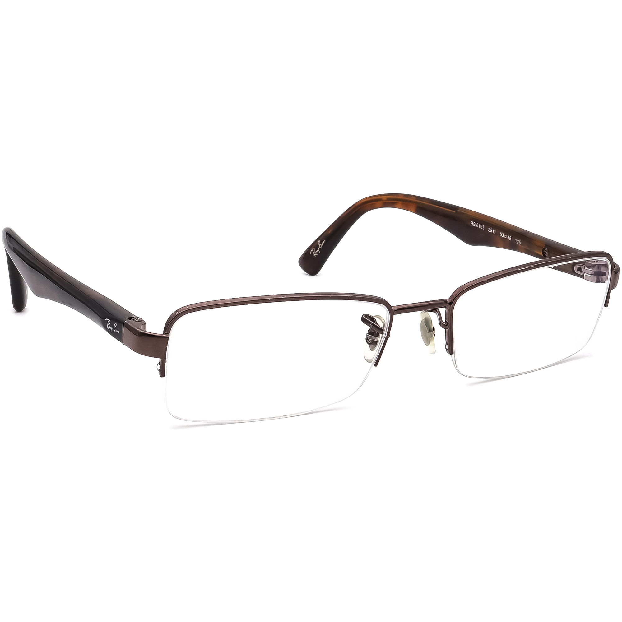 Ray Ban Eyeglasses RB 6195 2511 Brown/Tortoise Half Rim Frame 53[]18 135